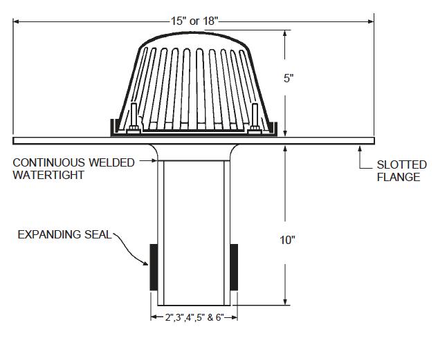 Aluminum ReRoof Drain Dimensional