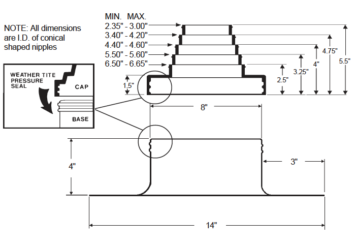 Alumi-Flash Standard with C-126 Cap dimensional