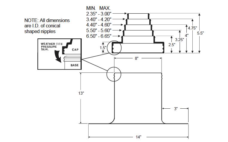 Alumi-Flash Extra Tall (XT) with C-126 Cap Dimensional