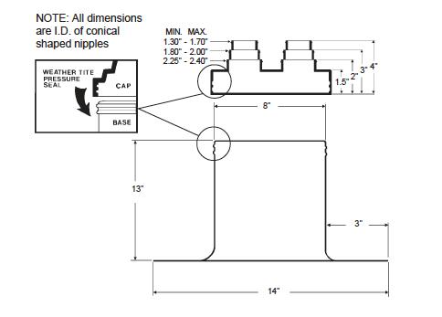 Alumi-Flash Extra Tall (XT) with C- 412 Cap Dimensional